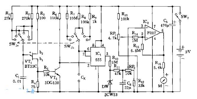 電容測試儀電路圖