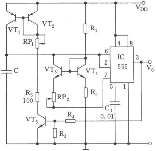可调的555多谐振荡器电路图
