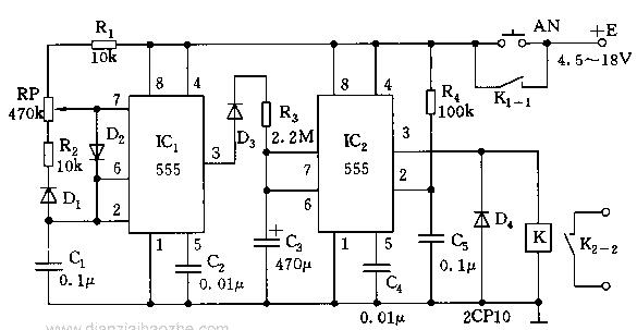用555时基电路制成的单稳态延时电路