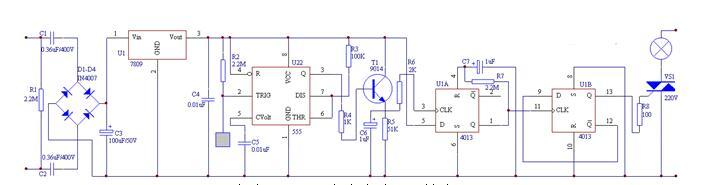 人体感应式照明灯控制开关电路原理图