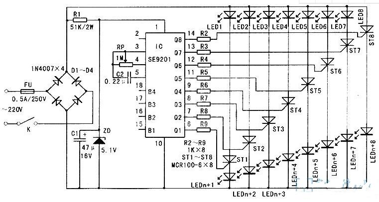 四路彩灯控制电路图