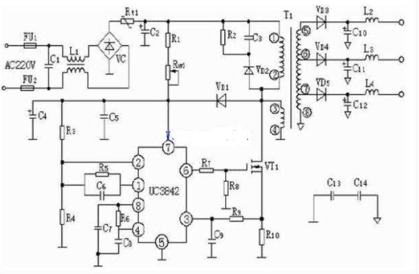 UC3842构成的开关电源电路图