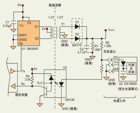 利用光耦、变压器和Dallas单线串行线构成隔离...