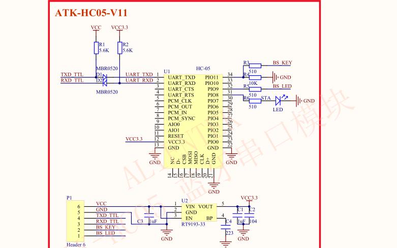 HC05蓝牙串口模块的原理图和源代码配套软件及实验说明