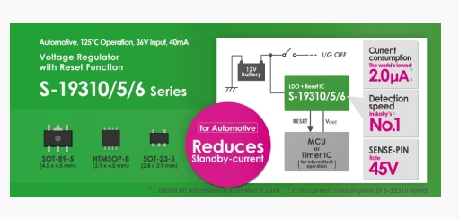 ABLIC发布新型汽车LDO稳压器 具有全球最低的自耗电流