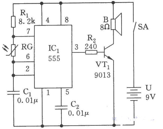 由555构成的音频振荡器电路