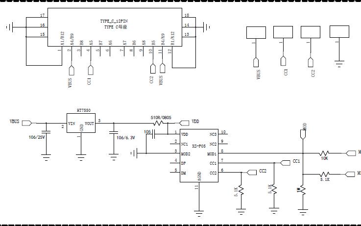 PD受电端协议芯片XSP05的操你啦影院原理图免费下载