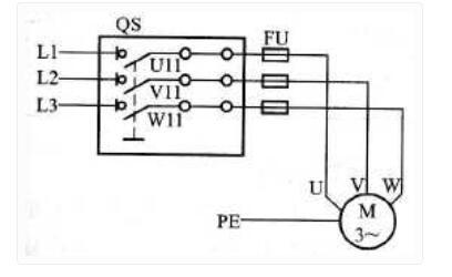电动机手动单向作业操控电路图