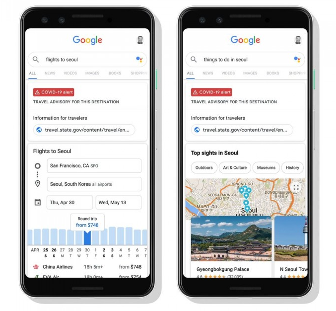 谷歌搜索引入实用功能 为旅游目的地提供建议
