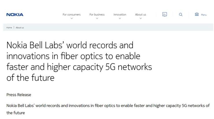 诺基亚贝尔实验室标准单模光纤创造新记录