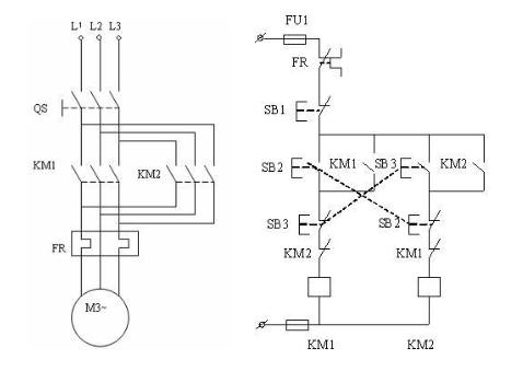 三相交流电动机正反转互锁电路的分析