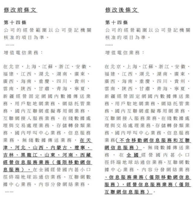 中国电信发布了修订增值电信业务的公告