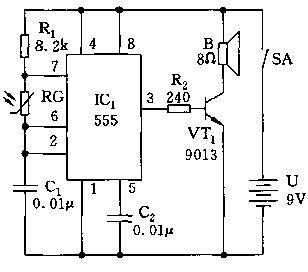 555多谐振荡器构成的鸟叫声电路