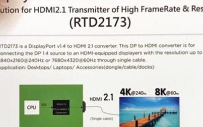 瑞昱展示DisplayPort 1.4/HDMI 2.1转接器,PC轻松连8K电视