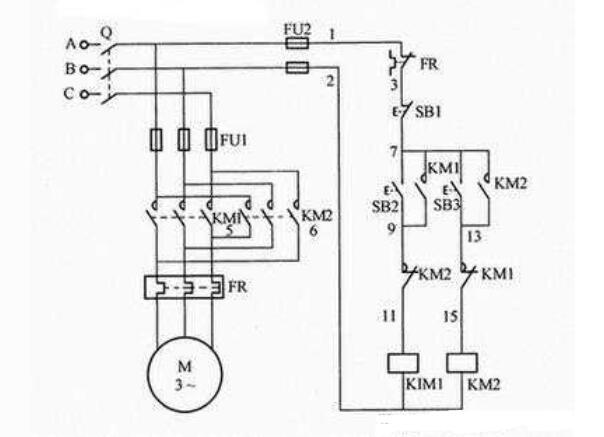 电动机触摸器互锁的正回转操控电路
