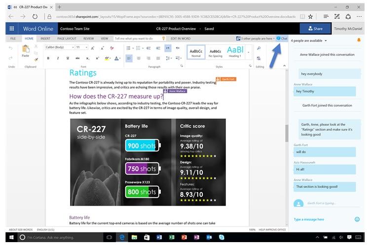 微軟的Office 365應用協同編輯聊天訪問權限將淘汰
