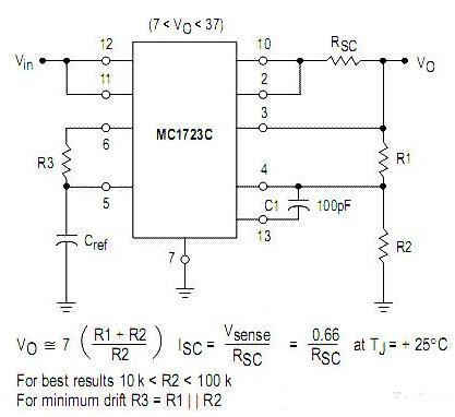 MC1723C典型应用电路图
