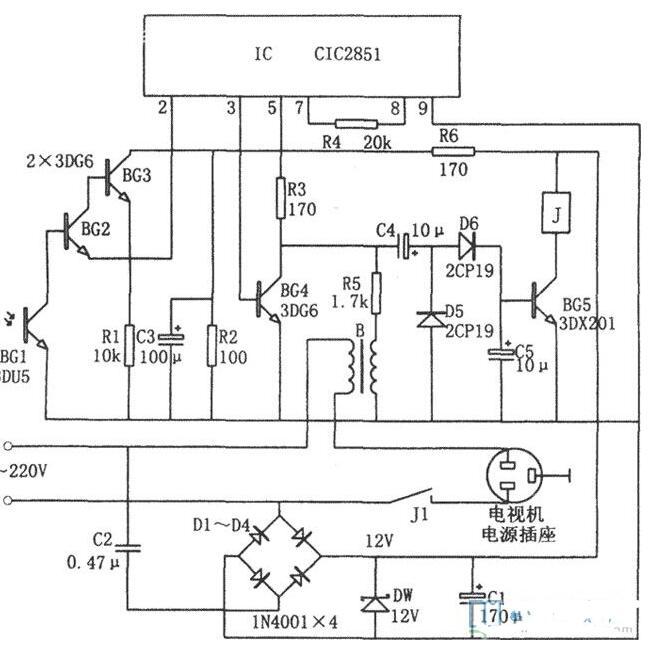 彩电节电遥控插座电路图