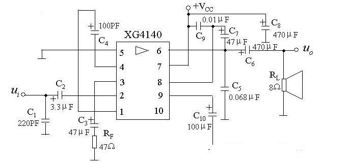 XG4140的外围引脚电路及内部等效电路图