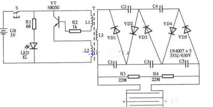 电蚊拍的工作过程_电蚊拍基本电路图