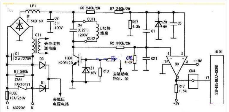 TCL电磁炉不加热啪啪响维修电路
