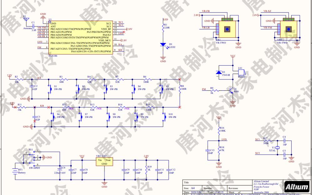 小四算轴无人机遥控器的电路原理图免费下载