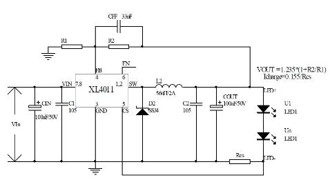 基于XL4011芯片的降压型LED驱动电源设计方案