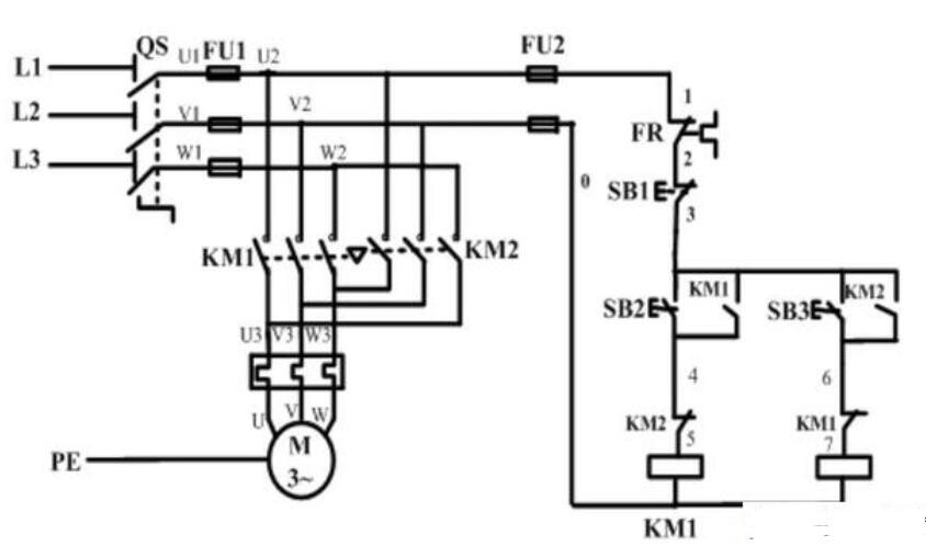 电机正反转接线图_电机元件符号标注说明