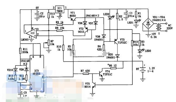 LM393电池充电器电路图