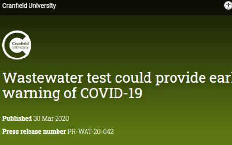 用污水传感器监测COVID-19疫情?