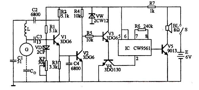 磁波感應式(shi)防盜報警器電路圖