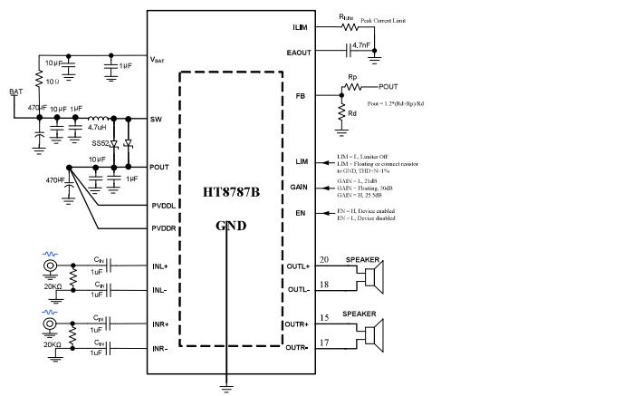 HT8787B立体声D类音频功率放大器的数据手册免费下载