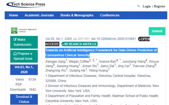 人工智能工具找到三种可预测COVID-19重症的迹象