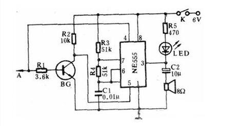 基于(yu)555的聲光數字電平檢測器電路