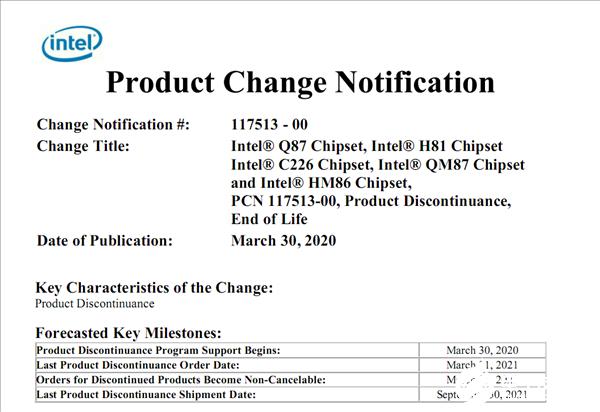 Intel宣布多款主板芯片组转入停产退市流程 14nm成为Intel顶梁柱