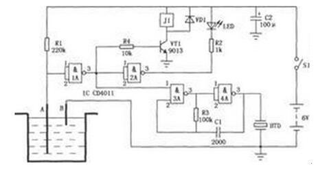 简易水位控制器电路图详解