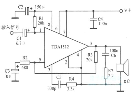 三款TDA1512構成的典型應用電路圖