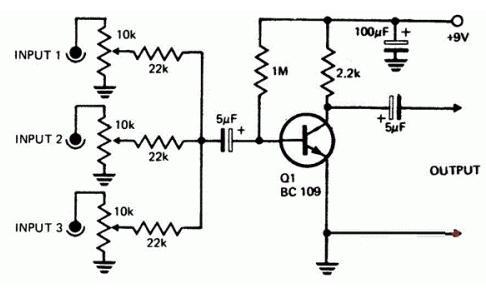 兩(liang)列音頻混合器電路圖分享