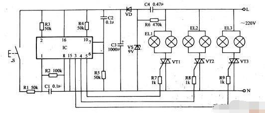 簡單的吊燈控制器電路圖