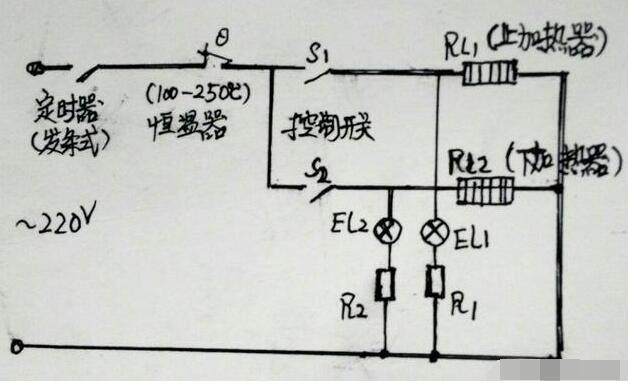 家用普通电烤箱工作原理电路图