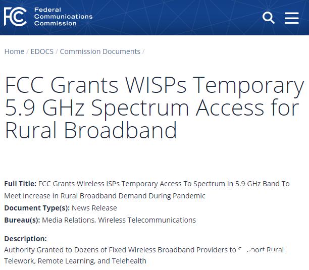 受疫情影響 FCC開放5.9GHz頻譜臨時訪問權限