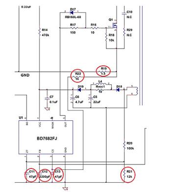 电源IC用来降压及稳定控制的各种引脚部件