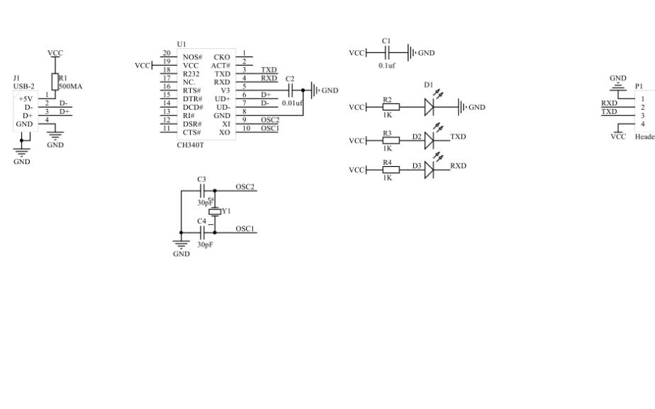 USB转TTL模块的电路原理图免费下载