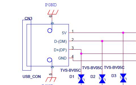 USB接口EMC设计标准电路的原理图免费下载