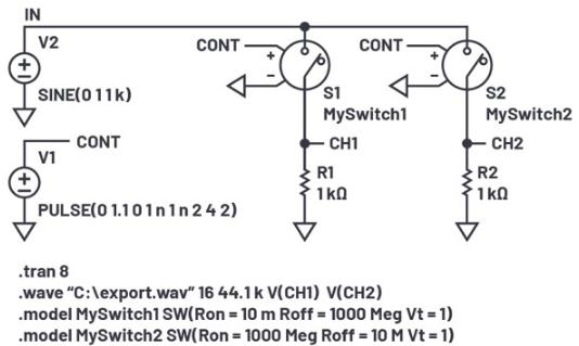 LTspice音频WAV文件:使用立体声和加密语音消息