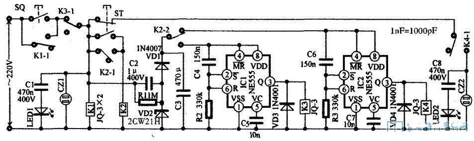 简单的时序电源插座电路图