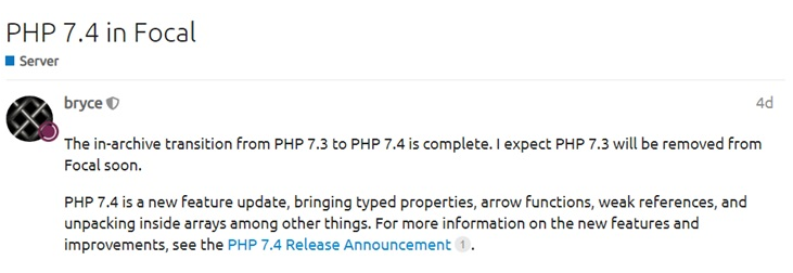 Ubuntu 20.04 LTS成功引入PHP 7.4