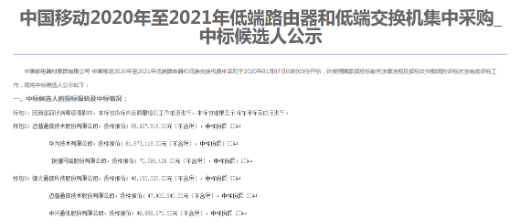 中国移动发布了2020-2021年低端路由器和低...