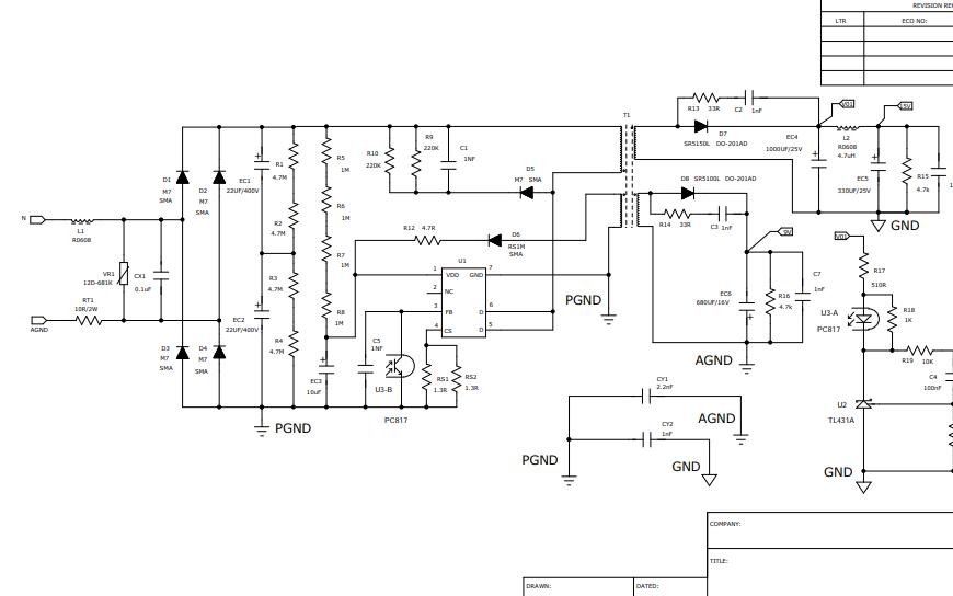 15V9V双路输出开关电源的电路原理图免费下载