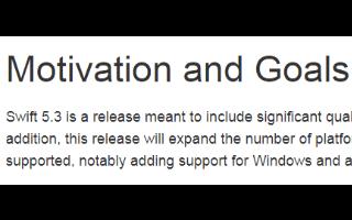 Swift 5.3版本将扩展受支持平台数量